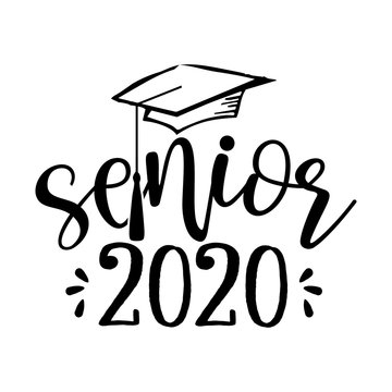 Senior 2020 - Typography. black text isolated white background. Vector illustration of a graduating class of 2020. graphics elements for t-shirts, and the idea for the sign