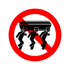 Stop Black man dancing with coffin icon. Ban Already Tired African American Dance with coffin. Red prohibition sign Vector illustration