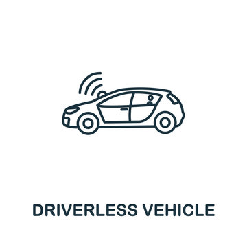 Driverless Vehicle icon from artificial intelligence collection. Simple line Driverless Vehicle icon for templates, web design and infographics