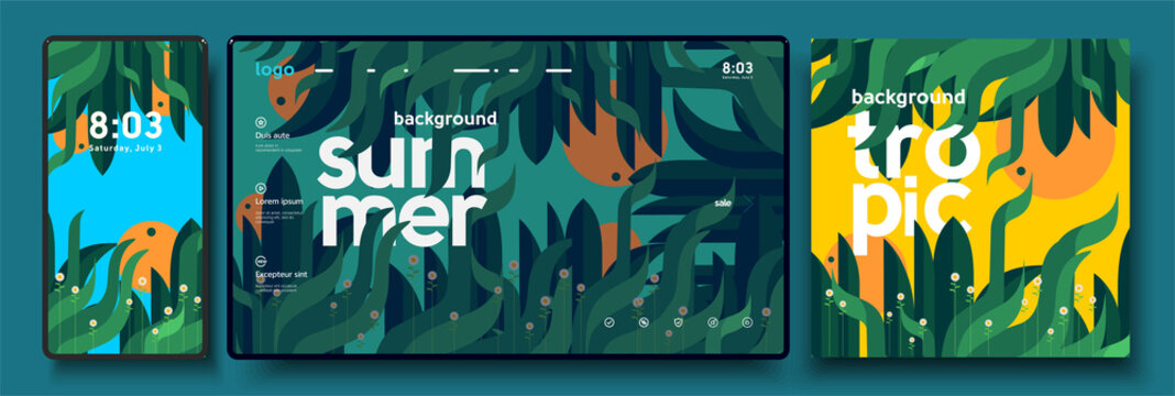 Vector illustration. Summer, nature, leaves, trees. A set of backgrounds for mobile phone, desktop, and cover art.
