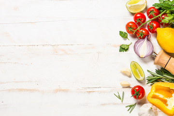 Food cooking background on white wooden table. Papier Peint