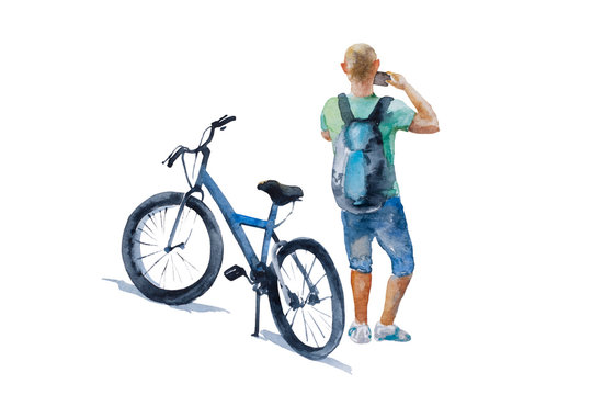 Man in casual clothing stop his bike to make a photo of sightseeing. Original watercolor illustration of tourists and bicycle for rent