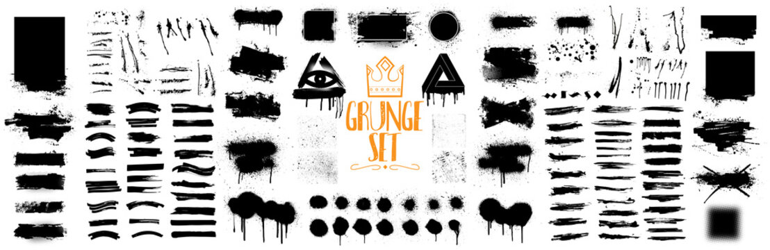 Diverse set of black paint, great elaboration, spray graffiti stencil template ink brush strokes, brushes, lines. Ink splashes stencil. High quality manually traced. Vector collection