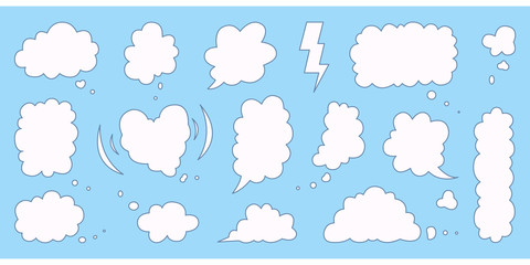 Set of cloud speech bubble. Cute bubbles and empty balloons elements . Clouds textbox for communication, comment and message template.