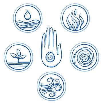 Set of ayurveda symbols of different elements, doshas and body types. Hand drawn line art cartoon vector illustration.