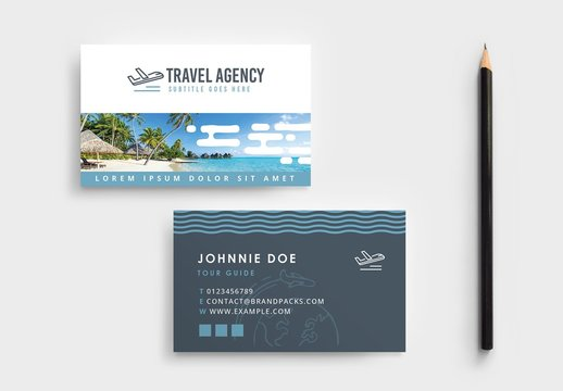 Travel Agency Tour Guide Business Card Layout