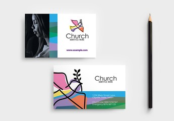 Modern Church Business Card Layout with Dove Illustration