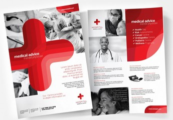 Medical Hospital Poster Layout with Large Red Cross