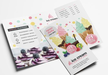 Ice Cream Dessert Shop Trifold Menu Layout