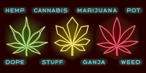 Cannabis or Marijuana Glowing Neon Sign Style Leaves Set with Dope Ganja Hemp Pot Stuff Weed Logos Lettering - Green Red and Yellow on Dark Background - Hand Drawn Doodle Design