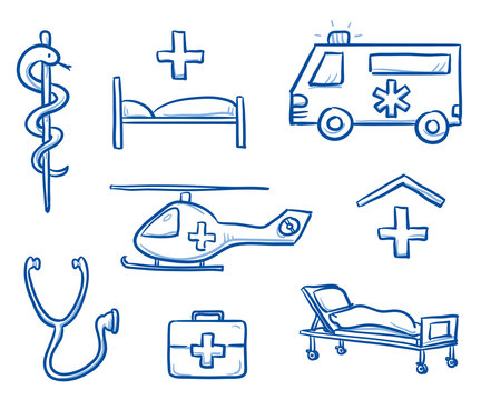 Set of different medical icons as ambulance, helicopter, hospital, stethoscope, first aid kit, bed,  for medical info graphics. Hand drawn line art cartoon vector illustration.
