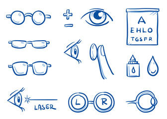 Set of different optometry icons, with eyes, contact lenses and glasses for medical info graphics. Hand drawn line art cartoon vector illustration.