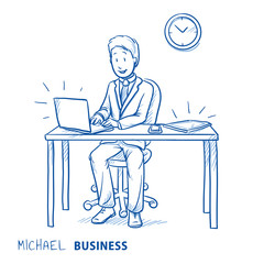 Happy business man, employee at his desk with laptop, tablet and smart phone. Concept for good organization, perfect work flow or software optimization. Hand drawn line art cartoon vector illustration