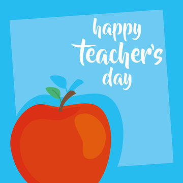 happy teachers day celebration with apple fruit