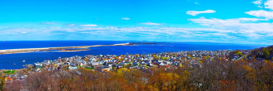 Sandy Hook ocean and NYC panorama reflex