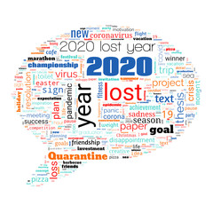 Lost year 2020 concept. Word cloud on theme lost year 2020 in bubble shape on white