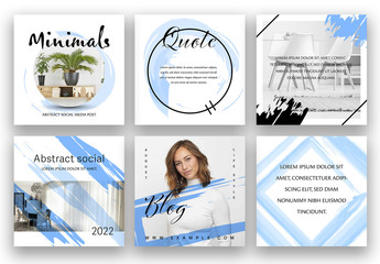 Abstract Social Media Layout Set with Blue Watercolor Elements