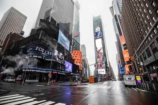 New York City, NY / USA - 3/29/2020: Empty streets of New York City during Coronavirus quarantine