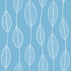 Seamless outline leaves pattern. Trendy fashion print