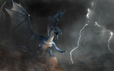 Obraz A blue dragon, a beast of myth and legend. Scaly and serpentine with bat-like wings, blues are known for spitting lightning. On a cliff in a storm. 3D Rendering - fototapety do salonu