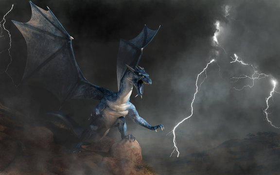 A blue dragon, a beast of myth and legend. Scaly and serpentine with bat-like wings, blues are known for spitting lightning. On a cliff in a storm. 3D Rendering