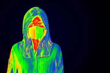 Woman wearing a face mask during coronavirus pandemic thermal image