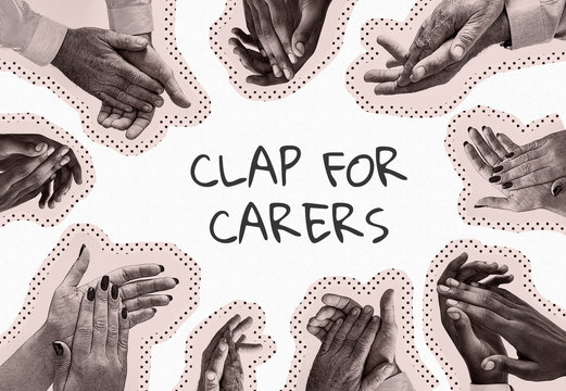 Clap for our carers social banner template illustration
