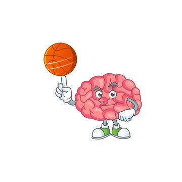 An athletic brain cartoon design style playing basketball