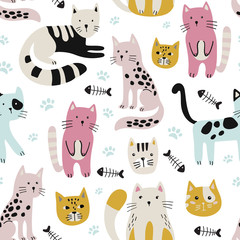 Seamless childish pattern with cute cats .