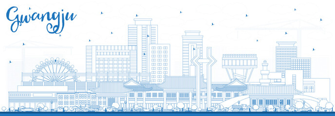 Wall Mural - Outline Gwangju South Korea City Skyline with Blue Buildings.