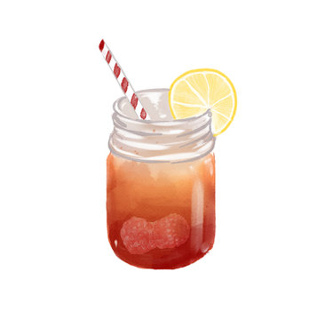 watercolor illustration of a fruity ice drink in a mason jar. Isolated on white