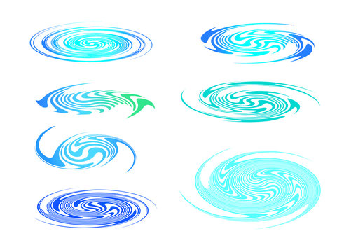 set of spiral, whirpool water, element vector for illustration.
