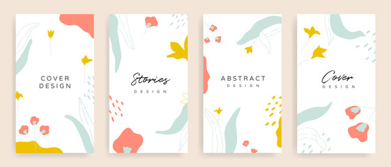 Social media stories and post cover design vector set. Background template with copy space for text and images design by abstract coloured shapes, line arts and floral.  Fototapete