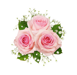 Photo sur Aluminium Fleur Pink rose flowers and gypsophila in a floral arrangement