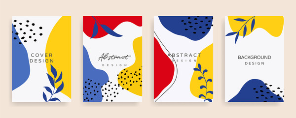 Fotobehang - Creative cover design. Social media banner template. Editable mockup for stories, post, blog, sale and  promotion. Abstract modern coloured shapes, line arts background design for web and mobile app.