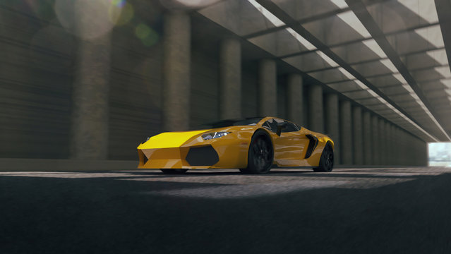 Yellow sport car. Render 3d. Illustration.