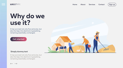 Poster Dogs Group of people working on farm. Agricultural workers gathering hay and harvest, feeding poultry. Vector illustration for agriculture, cattle, countryside, job concept