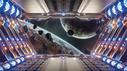 Wall Mural - Orange and blue futuristic spaceship interior with window view on distant planets system 3d rendering