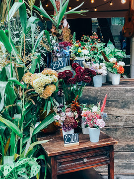 Small busines florist shop with trendy bouquets