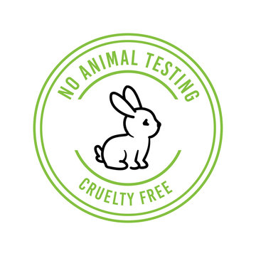 Cruelty-free, no animal testing, animal rights vector label, badge