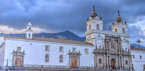 Wall Mural - Quito, Ecuador, Historical center at dusk
