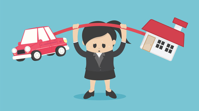 Concept cartoon illustration Businesswoman who shows a weary expression of the burden of both the car and the house