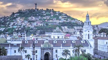 Wall Mural - Quito, Ecuador, Historical center at dusk