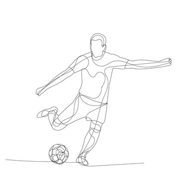 vector, on a white background, a single continuous line drawing of a soccer player