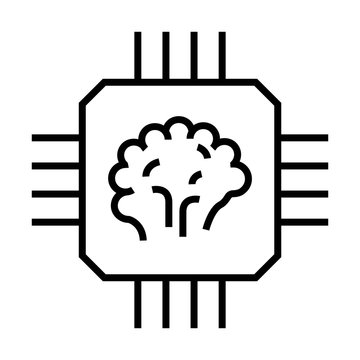 Artificial intelligence brain on computer chip. Machine learning icon. Line design for AI concept.