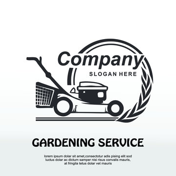 lawnmower logo, lawn moving and lawn care service logo , cutting grass company logo vector