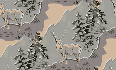 deer vector japanese chinese nature ink illustration engraved sketch traditional textured seamless pattern colorful watercolor