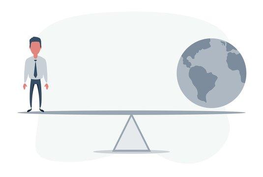 Man in balance with Earth globe. Vector flat design illustration.