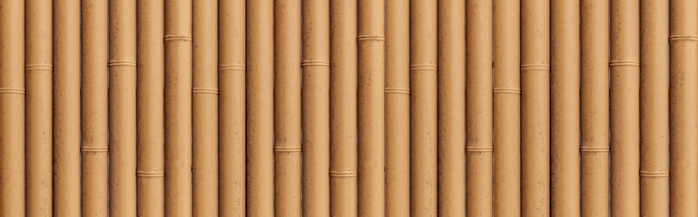 Panorama of Bamboo fence texture and background