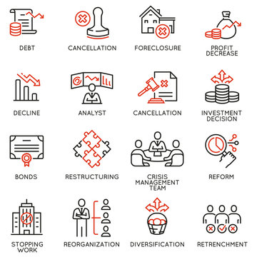 Vector Set of Linear Icons Related to Profit Decline, Finance Segression, Stagnation. Mono line pictograms and infographics design elements - part 2